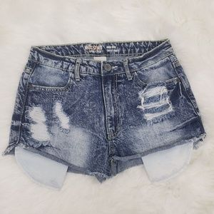 Mossimo High Rise Distressed Acid Wash Jean Shorts